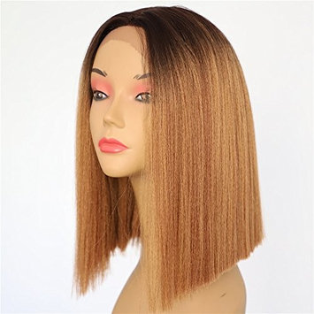 QD-Udreamy Cheap Lace Front Wigs for Women Ombre Black Mixed Green Short Bob Deep L Parting Heat Resistant Yaki Hair Synthetic Wigs