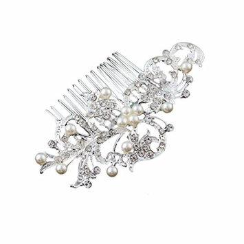 Malloom Salix Leaf Diamond Pearl Hair Comb Tiara Women Party Bridal Wedding H...