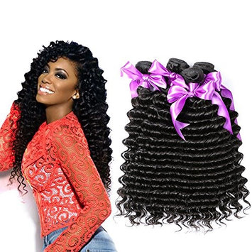 Deep Wave 3 Bundles Human Hair Weaves Deep Wave Brazilian Virgin Hair Deep Curly Human Hair Extensions Natural Color 8-28 inches Brazilian Deep Wave Wet and Weft (12