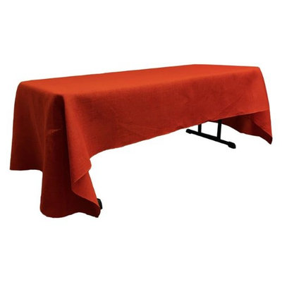 LA Linen TCBurlap60x144-Red Rectangular Dyed Natural Burlap Tablecloth Red - 60 x 144 in.