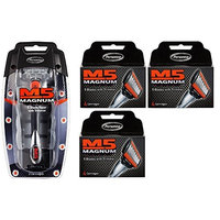 Personna M5 Magnum 5 Razor with Trimmer + M5 Magnum 5 Refill Razor Blade Cartridges, 4 ct. (Pack of 3) + FREE Assorted Purse Kit/Cosmetic Bag Bonus Gift