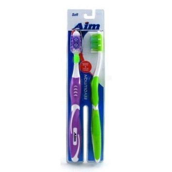 2 Aim Toothbrush Set With Rubber Grip Handle Ergonomic Design Soft Bristles