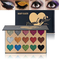 Beauty Glazed Eyeshadow Palette Ultra Pigmented Mineral Pressed Glitter Make Up Eye Shadow Powder Flash Eyebrown Shimmer Waterproof 15 Colors Face Lips Art for Party Festival Make Up