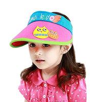 K Cliffs Kids Velcro Summer Sun Visor Hat with Animal stitching, Pink