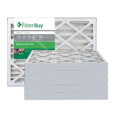 AFB Silver MERV 8 13x21.5x2 Pleated AC Furnace Air Filter. Filters. 100% produced in the USA. (Pack of 6)