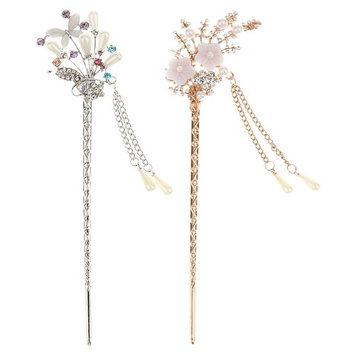 MonkeyJack 2 PCS WOMEN CRYSTAL FLOWER TASSELS HAIRPINS HAIR CLIP BARRETTE HAIR STICK