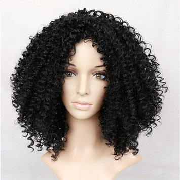 Lady Miranda Afro Kinky Curly Wigs Nature Color Synthetic Curly Hair Heat Resistance Wig For Black Woman (black)