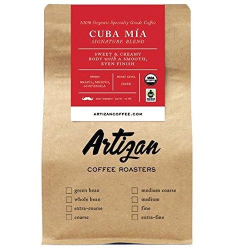 100% Organic Authentic Cuban Espresso - Cafe Cubano Cafecito - Intense Dark Roast - Cuba Mia Signature Blend - USDA Certified Organic - Whole Bean - Roasted in Miami, FL (2 x 12oz)