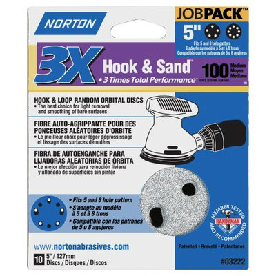 Norton 04034 5-Inch 5 and 8 Hole P100 3X Hook and Loop Discs, 50-Pack