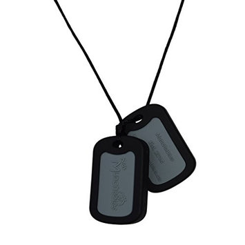 Sensory Oral Motor Aide Chewelry Necklace - Chewy Jewelry for Sensory-Focused Kids with Autism or Special Needs - Calms Kids and Reduces Biting/Chewing - Black Military Dog Tags