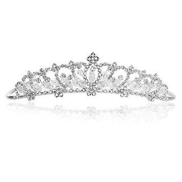 Silver Plated Flower Rhinestone Crystal Beads Bridal Tiara Crown T1003