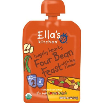 Ella's Kitchen Hugely Hearty Four Bean Feast with Big Flavor 4.5 OZ, 6 Packs