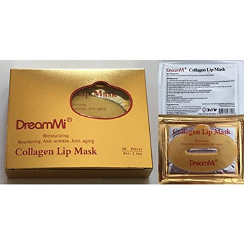 DreamMi 10 Pieces Gold Collagen Gel Lip Pad Mask Patch Sheet, Moisturizing, Nourishing, Anti Wrinkle and Anti Aging, By DreamMi