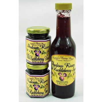 Shadow River Wild Huckleberry Gourmet Gift Set - 3 oz Jam, 3 oz Honey, 6.5 oz Syrup