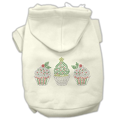 Mirage Pet Products 54-25-22 XLCR Christmas Cupcakes Rhinestone Hoodie Cream XL - 16