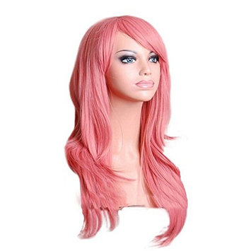 FinerMe Pink 28 inches 70cm Cosplay Wigs Long Big Wavy Curly Hair Halloween Costume Party Cosplay Wavy Curly Heat Resistance Wig With Bangs and Free Wig Cap