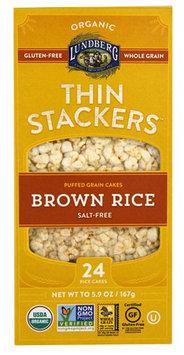 Lundberg Organic Thin Stackers™ Rice Cakes Salt-Free Brown Rice - 5.9 oz pack of 12