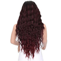 Naladoo Wig,Women Fashion Lady Middle Part Big Wave Gradation Wine Red Wig Curly Hair