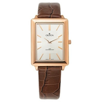 Men's Croton Stainless Steel Watch with Leather Band