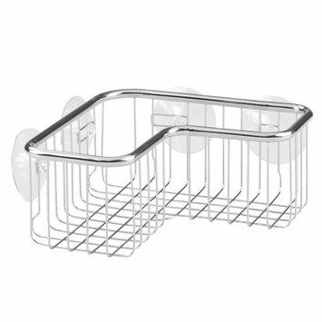 InterDesign Forma Ultra Corner Shower Basket, Stainless Steel Shower Basket with Suction Cups, Chrome [Corner Basket]