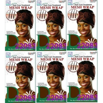6 PACKS OF Donna Hair Care Treatment Mesh Wrap Assorted Color #22083