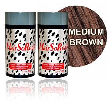 Hair so Real, HSR Hair Building Fibers, Hair Loss Concealer Kit (2 of Hairsoreal 28g Bottle) (Medium Brown)