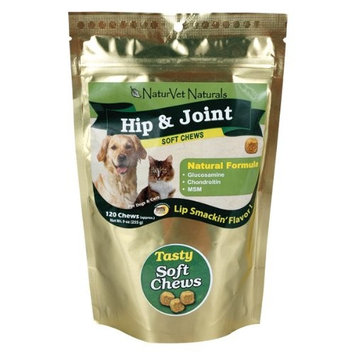 NaturVet Hip & Joint Soft Chews Plus Omegas for Dogs and Cats, 120 ct Soft Chews, Made in USA
