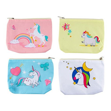 Unicorn Makeup Bag - 4-Pack Unicorn Pencil Pouch for Girls, Cute Pencil Bag School Supplies, Travel Cosmetic Bag for Women, 4 Designs, White, Yellow, Pink, Blue, 8.25 x 1 x 6.5 Inches