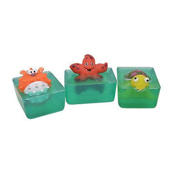 3 Pack Handmade Glycerin Sea Life Toy Soap Bar (4 Oz) with Star Fish, Puffer Fish, and Turtle Toys with a Gift Box