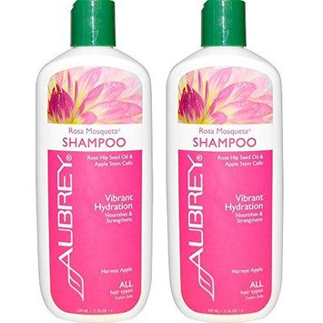 Aubrey Organics Rosa Mosqueta Shampoo Vibrant Hydration for All Hair Types With Rose Hip Seed Oil and Apple Stem Cells, 11 fl oz (325 ml) (Pack of 2)