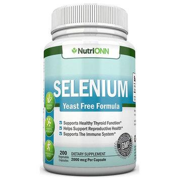 Selenium - 200mcg - 200 Vegetarian Capsules - Yeast Free Formula - Essential Trace Mineral - Pure Selenium (l-Selenomethionine) Supplement - Great for Thyroid, Cardiovascular Health and Immune System