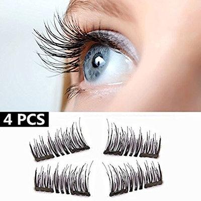 [4 Pcs] - HOBO 3D Dual Magnetic Eyelashes,0.2mm Ultra-thin Reusable Glue-free Fake Eyelashes,Dual Magnetic [4PCS]