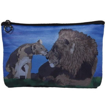 Lions Cosmetic, Lion Zipper Pouch - Support Wildlife Conservation, Read How - From My Original Painting, A Father's Pride