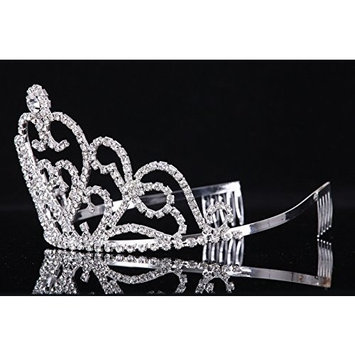 Lovelyshop Grand heart Rhinestone Tiara with comb for Wedding Bridal Birthday Pegeant Party Queen(luxurious)