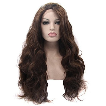 Ebingoo Free Part Dark Brown Long Natural Wave Synthetic Lace Front Wig Heat Resistant Fiber Synthetic Lace Front Wig Glueless Body Wave Wigs for Women Daily Use (26 inch)