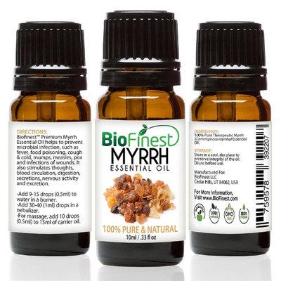 BioFinest Myrrh Oil - 100% Pure Myrrh Essential Oil - Premium Organic - Therapeutic Grade - Best For Aromatherapy - Boost Immune System - Heal Wound - with E-Book (10ml)
