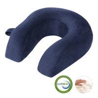 LANGRIA U-Shaped Ergonomic Memory Foam Travel Neck Pillow with Snap Closure, Navy Blue