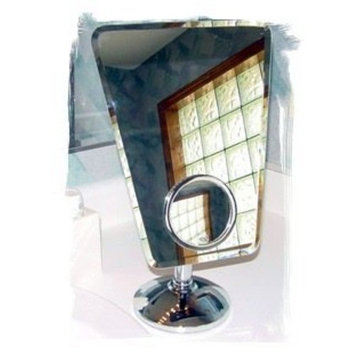 Rucci Model M835 Regular Trapezoid Rimless Vanity Mirror With 10x Fixed 3.5 Diameter Insert Mirror by Rucci