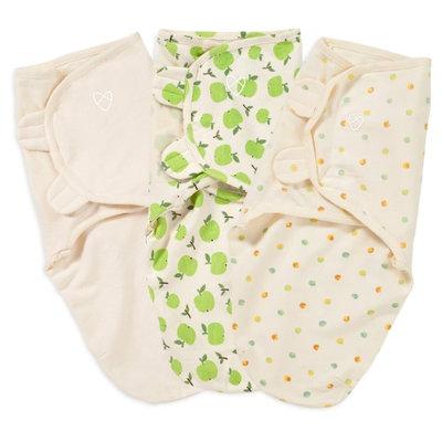 Summer Infant Organic SwaddleMe 3-Pack, Apple / Ivory / Dots