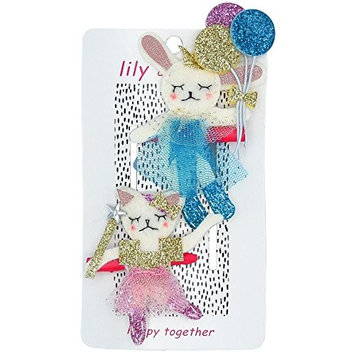 Bunny Friends Forever Hair Clips - Girls, Toddlers Hair Accessories - Pink, Gold, Teal - Alligator Clip, Suitable For All Hair Types