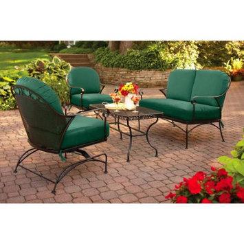 Better Homes and Gardens Clayton Court 4-Piece Patio Conversation Set, Green, Seats 4