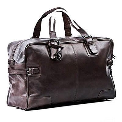 BACCINI large travel bag - weekender ROBERTO - sports bag brown-crumply leather