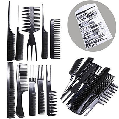 MagiDeal 10pcs/set Pro Salon Hair Cut Styling Hairdressing Barbers Combs Brushes with Storage Bag - Black