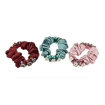 3PCS Pearl Beads Hair Scrunchies Bands Elastic Hair Ponytail Holder Rope Ties Hair Accessories For Women Girls Gifts
