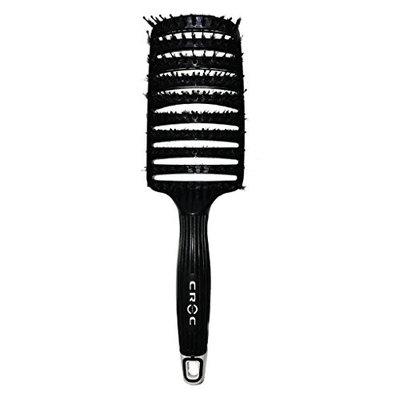 Boar Bristle Vent Hair Brush Curved Detangling Brush Black by Croc