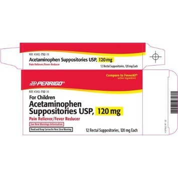 Perrigo Childrens Acetaminophen Rectal Suppositories, 120mg, 12 CT