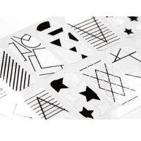 Bundle Monster BMC 20pc Shape Shifters Negative Space Nail Wraps - Modern Geometric Stars Dots Abstract Pop Art Designs
