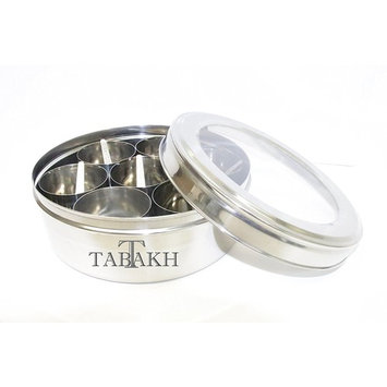 Tabakh Stainless Steel Masala Dabba/Spice Container Box with 7 Spoons - With Clear Screen & Clear Lid