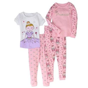 Bunz Kidz Toddler Girl Tight Fit Pajama, 4pc Set