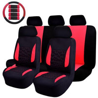 Omiss 14PC Universal Fit Full Set Flat Cloth Fabric Car Seat Cover Fit Most Car SUV